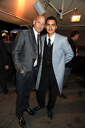 """Left to right, New York Gallery owner PERRY RUBENSTEIN and artist ROBIN RHODE at an exhibition of work by Andy Warhol entitled """"Other Voices, Other Rooms"""" at The Hayward Gallery, Southbank Centre, London SE1 on 6th October 2008."""