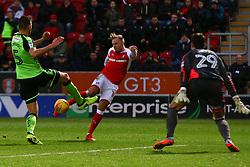 David Ball of Rotherham United shoots at goal - Mandatory by-line: Ryan Crockett/JMP - 16/12/2017 - FOOTBALL - Aesseal New York Stadium - Rotherham, England - Rotherham United v Plymouth Argyle - Sky Bet League One