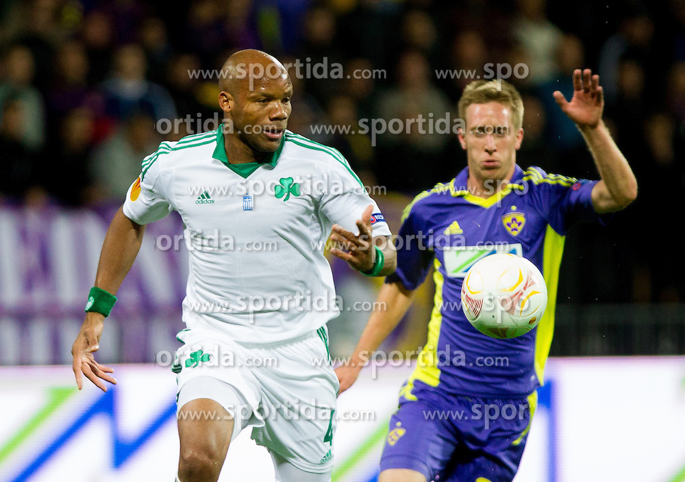 Jean-Alain Boumsong of Panathinaikos vs Robert Beric of NK Maribor during football match between NK Maribor and Panathinaikos Athens F.C. (GRE) in 1st Round of Group Stage of UEFA Europa league 2013, on September 20, 2012 in Stadium Ljudski vrt, Maribor, Slovenia. (Photo By Vid Ponikvar / Sportida)