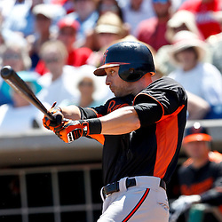 March 25, 2012; Clearwater, FL, USA; Baltimore Orioles left fielder Nolan Reimold (14) hits a solo homerun during the top of the second inning of a spring training game against the Philadelphia Phillies at Bright House Networks Field. Mandatory Credit: Derick E. Hingle-US PRESSWIRE