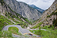 A view of a part of the Gotthard Pass winding it's way through the mountains from Canton Uri in the north to Canton Ticino in the south.   In this shot the galleried sections of road are clearly visible.