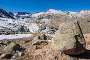 Boulder in snowed Sierra de Gredos (Spain)