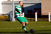 Selby Hands of Hope Patron Gareth Ellis on his way to scoring a goal to make the score 2-0 during the Annual Selby Hands of Hope Charity match between Selby Hands of Hope FC and Malt Shovel FC at The Fairfax Stadium, Selby Town FC, Selby, United Kingdom on 28 December 2017. Photo by Simon Davies.