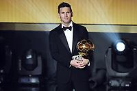 Zurich (Svizzera) 11/01/2016 - Fifa Ballon d'Or 2015 Pallone d'Oro / foto Matteo Gribaudi/Image Sport/Insidefoto<br /> nella foto: Lionel Messi winner