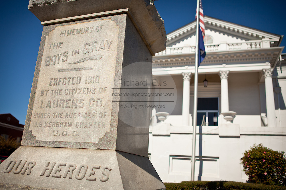 Monument to the Confederate soldiers in front of the historic county courthouse in Laurens, South Carolina.