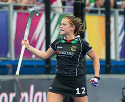 Germany's Charlotte Stapenhorst celebrates scoring. Germany v Spain - 3rd/4th Playoff Unibet EuroHockey Championships, Lee Valley Hockey & Tennis Centre, London, UK on 30 August 2015. Photo: Simon Parker