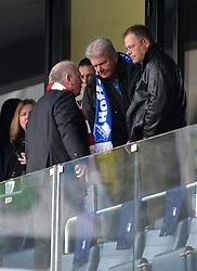 02.11.2013, Rhein Neckar Arena, Sinsheim, GER, 1. FBL, TSG 1899 Hoffenheim vs Fc Bayern Muenchen, 11. Runde, im Bild Manager Dieter Hoeness (links) im Gespr&not;&auml;ch mit M&not;&auml;zen Dietmar Hopp (Mitte) auf der Trib&not;&uuml;ne<br /> <br /> <br /> TSG 1899 Hoffenheim gegen FC Bayern M&not;&uuml;nchen<br /> Fu&not;&szlig;ball Herren GER <br /> 1 Bundesliga Spieltag 11 11 Spieltag<br /> Saison 2013 2014 Sinsheim-Hoffenheim Wirsol Rhein-Neckar-Arena<br /> 02 11 2013  // during the German Bundesliga 11th round match between TSG 1899 Hoffenheim and FC Bayern Munich at the Rhein Neckar Arena in Sinsheim, Germany on 2013/11/02. EXPA Pictures &copy; 2013, PhotoCredit: EXPA/ Eibner-Pressefoto/ Weber<br /> <br /> *****ATTENTION - OUT of GER*****