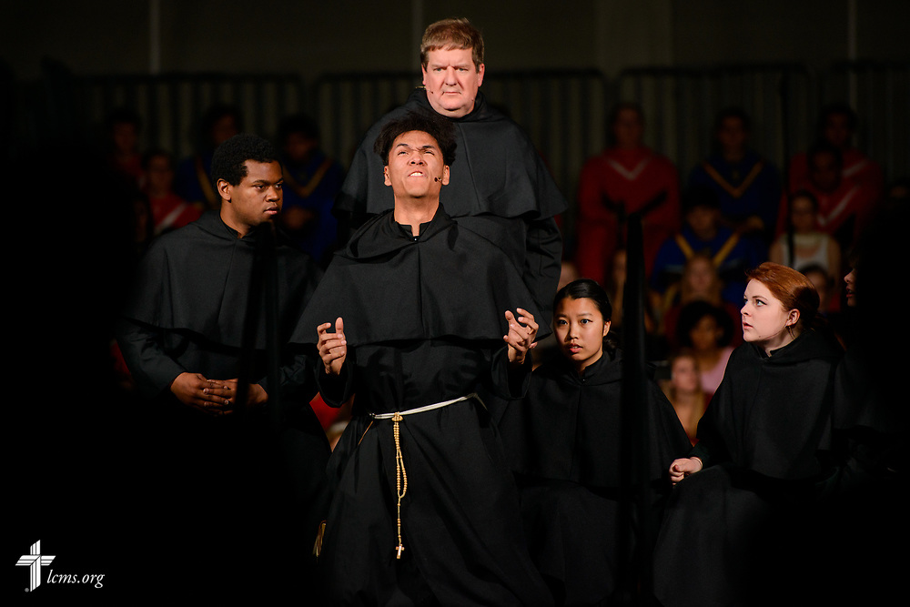 Actors portraying scenes from the life of Martin Luther perform during the 500th Anniversary of the Reformation festival worship service on Sunday, Oct. 29, 2017, in the Gangelhoff Center at Concordia University, St. Paul, in St. Paul, Minn. The service was held in conjunction with Concordia University, St. Paul, and the Minnesota North and South Districts of the Lutheran Church-Missouri Synod. LCMS Communications/Erik M. Lunsford