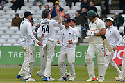Sussex celebrate the wicket of Michael Lumb during the Specsavers County Champ Div 2 match between Nottinghamshire County Cricket Club and Sussex County Cricket Club at Trent Bridge, West Bridgford, United Kingdon on 21 April 2017. Photo by Simon Trafford.