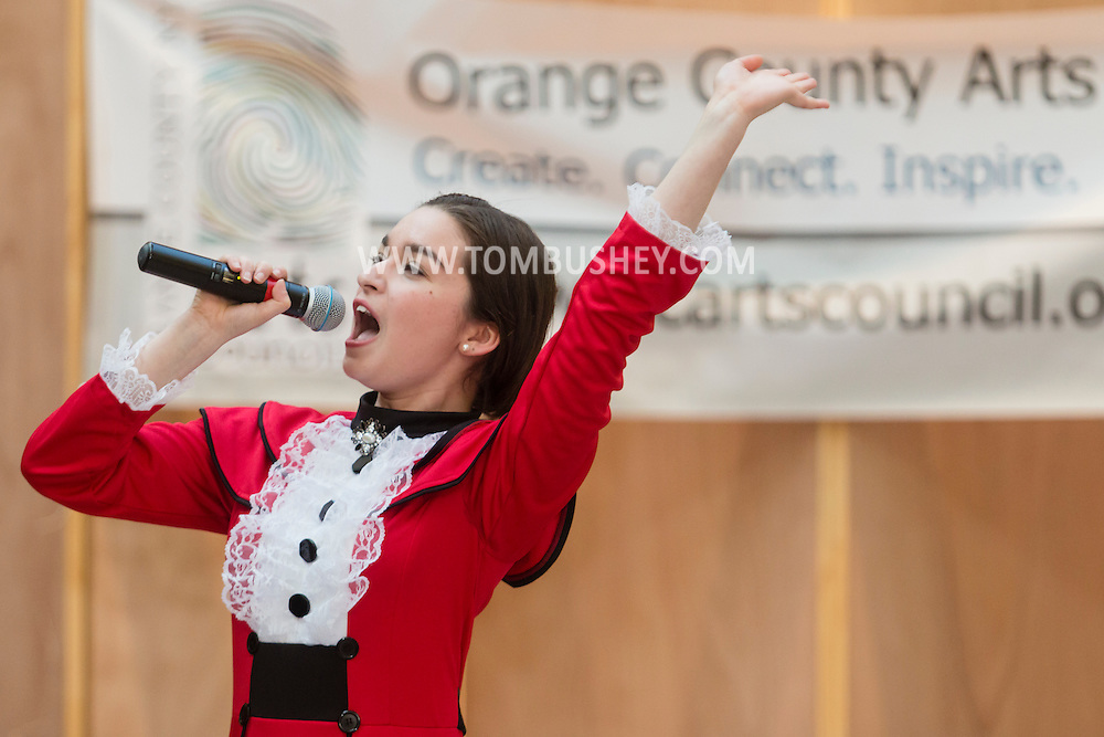 """Town of Wallkill, New York - A member of the cast of """"Mary Poppins"""" from Newburgh Free Academy performs at the Orange County Arts Council All-County High School Musical Showcase and Arts Display at the Galleria at Crystal Run on Feb. 28, 2015. The theme of the event was: """"Arts Build Confidence""""."""