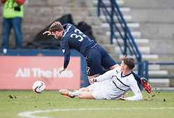 Raith Rovers Ross Callachan brings down Falkirk's Rory Loy.<br /> Raith Rovers 2 v 4 Falkirk, Scottish Championship game today at Starks Park.<br /> &copy; Michael Schofield.