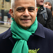 London, UK. 18th March 2018. Mayor of London Sadiq Khan join the parade of the London's St Patrick's Day 2018 parade from Green Park to Trafalgar Square on 19th March 2017.