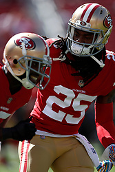 SANTA CLARA, CA - OCTOBER 07: Richard Sherman #25 of the San Francisco 49ers warms up prior to their game against the Arizona Cardinals at Levi's Stadium on October 7, 2018 in Santa Clara, California. (Photo by Jason O. Watson/Getty Images)
