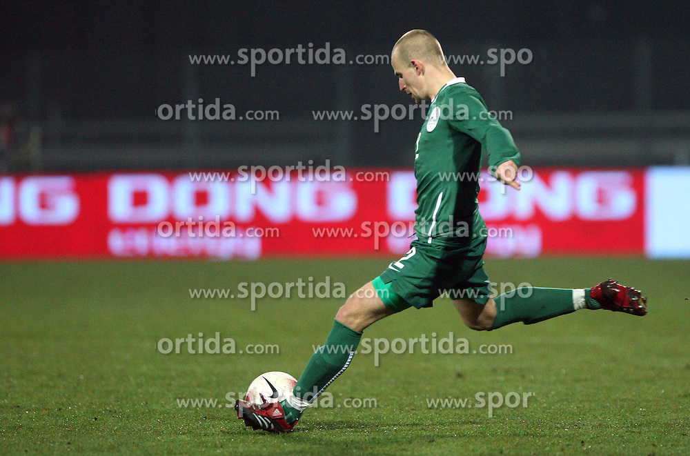 Miso Brecko of Slovenia (2) during the UEFA Friendly match between national teams of Slovenia and Denmark at the Stadium on February 6, 2008 in Nova Gorica, Slovenia. Slovenia lost 2:1. (Photo by Vid Ponikvar / Sportal Images).