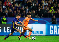 MARIBOR, SLOVENIA - OCTOBER 17: Mitja Viler of NK Maribor vs Emre Can of Liverpool FC during UEFA Champions League 2017/18 group E match between NK Maribor and Liverpool FC at Stadium Ljudski vrt, on October 17, 2017 in Maribor, Slovenia. (Photo by Vid Ponikvar / Sportida)
