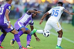 22042018 (Durban) Maritzburg player Mohau Mokate tackle when their team Maritzburg United FC make their way to the final of the Nedbank when playing against Mamelodi Sundowns FC at the Harry Gwala Stadium in Pietermaritzburg, KZN yesterday.<br /> Picture: Motshwari Mofokeng/ANA