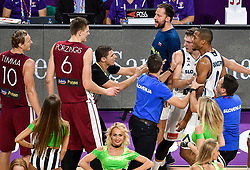 Kristaps Porzingis of Latvia in fight with Luka Doncic of Slovenia and Anthony Randolph of Slovenia  during basketball match between National Teams of Slovenia and Latvia at Day 13 in Round of 16 of the FIBA EuroBasket 2017 at Sinan Erdem Dome in Istanbul, Turkey on September 12, 2017. Photo by Vid Ponikvar / Sportida