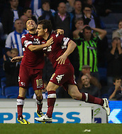 Chris Martin of Derby County (right) celebrates scoring his second goal of the game with Jamie Ward of Derby County (left) during the Sky Bet Championship play off semi final first leg at the American Express Community Stadium, Brighton and Hove<br /> Picture by David Horn/Focus Images Ltd +44 7545 970036<br /> 08/05/2014