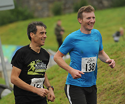 Martin Whamsley and Noel McGourty enjoying Westport Leisure Park's 'Last Man Running' which took place on the Westport greenway on saturday last<br /> Pic Conor McKeown