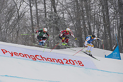 February 23, 2018 - Pyeongchang, SOUTH KOREA - 180223 Talina Gantenbein of Switzerland, Marielle Thompson of Canada and Lisa Anderson of Sweden competes in the Women's Freestyle Skicross 1/8 Final during day fourteen of the 2018 Winter Olympics on February 23, 2018 in Pyeongchang..Photo: Joel Marklund / BILDBYRÃ…N / kod JM / 87646 (Credit Image: © Joel Marklund/Bildbyran via ZUMA Press)