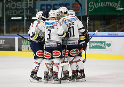 06.12.2015, Eisstadion Liebenau, Graz, AUT, EBEL, Moser Medical Graz 99ers vs EC VSV, 28. Runde, im Bild von links Ryan Connor McKiernan (EC VSV), Dustin Johner (EC VSV), Rick Schofield (EC VSV) und Miha Verlic (EC VSV) // during the Erste Bank Icehockey League 28th Round match between Moser Medical Graz 99ers and EC VSV at the Ice Stadium Liebenau, Graz, Austria on 2015/12/06, EXPA Pictures © 2015, PhotoCredit: EXPA/ Erwin Scheriau