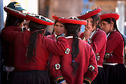 Women gossiping at Sunday market  Chinchero, Peru