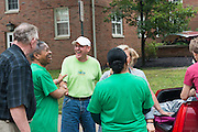 President Roderick McDavis greets students and their families during move- in on East Green. Photo by Ben Siegel