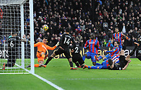 Football - 2017 / 2018 Premier League - Crystal Palace vs. Newcastle United<br /> <br /> Christian Benteke of Palace sees his shot deflected off the goal line for a corner, at Selhurst Park.<br /> <br /> COLORSPORT/ANDREW COWIE