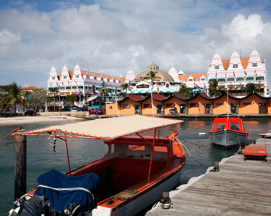 Aruba, Lesser Antilles.  Backside view of Oranjestad's main shopping district from the wharves.