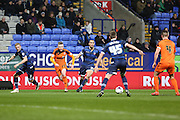 Freddie Sears, Ipswich Town forward attempts a give and go with Luke Chambers, Ipswich Town defender in the box during the Sky Bet Championship match between Bolton Wanderers and Ipswich Town at the Macron Stadium, Bolton, England on 8 March 2016. Photo by Simon Brady.
