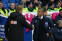 Football - 2017 / 2018 Premier League - Brighton and Hove Albion vs. AFC Bournemouth<br /> <br /> Brighton Manager welcomes Bournemouth's Manager Eddie Howe before kick off at The Amex Stadium Brighton <br /> <br /> COLORSPORT/SHAUN BOGGUST