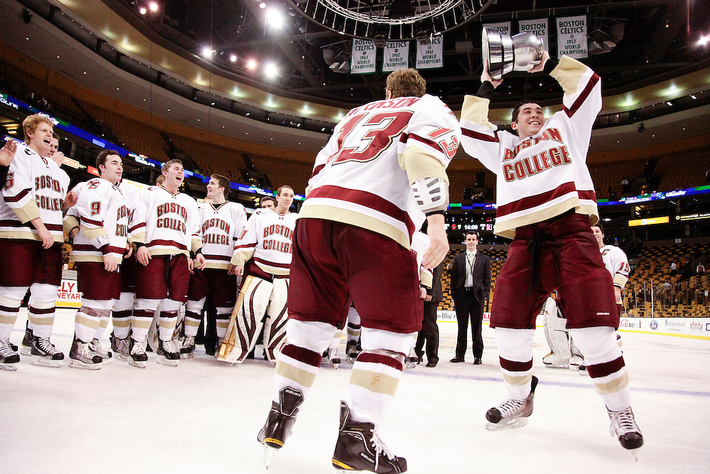 Boston College men's ice hockey team celebrates their third Beanpot title in four years after they beat Northeastern 7-6 in overtime.