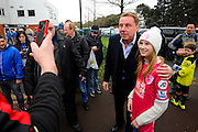Former Bournemouth manager Harry Redknapp having a selfie with a fan outside the Vitality Stadium before the The FA Cup match between Bournemouth and Everton at the Goldsands Stadium, Bournemouth, England on 20 February 2016. Photo by Graham Hunt.