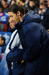 PSG Forward Zlatan Ibrahimovic (SWE) comes out of the tunnel to take his seat in the dugout before kick off - Photo mandatory by-line: Rogan Thomson/JMP - 07966 386802 - 08/04/2014 - SPORT - FOOTBALL - Stamford Bridge, London - Chelsea v Paris Saint-Germain - UEFA Champions League Quarter-Final Second Leg.