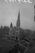 11/04/1966<br /> 04/11/1966<br /> 11 April 1966<br /> 1916 Jubilee Commemorations- Opening and Blessing Ceremony at the Garden of Remembrance, Parnell Square, Dublin. Image shows a view of Abbey Presbyterian Church (Findlater's church). In foreground is the army motorcycle unit.