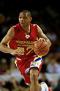 Indiana recruit Eric Gordon dribbles the ball upcourt during action in the McDonald's All American High School Basketball Team games at Freedom Hall in Louisville, Kentucky on March 28, 2007.