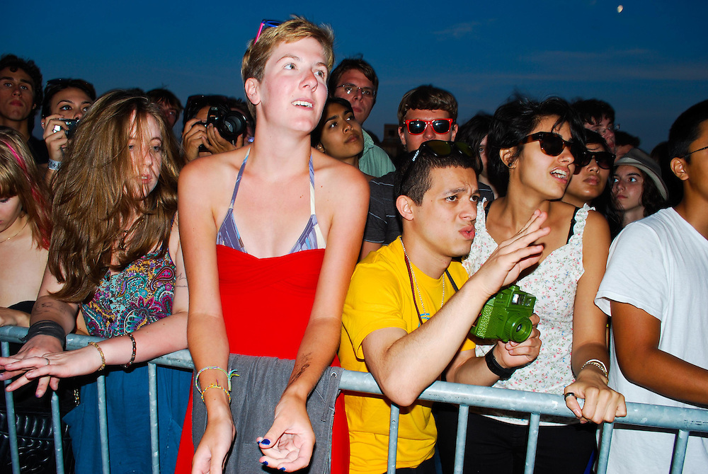 Grizzly Bear fans get down in the crowd at the JELLY Pool Party free concert series East River State Park, Williamsburg, Brooklyn, New York