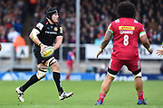 Mitch Lees of Exeter Chiefs on th attack during the Aviva Premiership match between Exeter Chiefs and Harlequins at Sandy Park, Exeter, United Kingdom on 19 November 2017. Photo by Graham Hunt.
