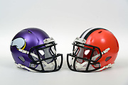 A view of Minnesota Vikings and Cleveland Browns helmets on Thursday, November 2, 2017. (Kirby Lee via AP)