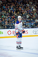 PENTICTON, CANADA - SEPTEMBER 16: Jesse Puljujarvi #39 of Edmonton Oilers stands on the ice against the Vancouver Canucks on September 16, 2016 at the South Okanagan Event Centre in Penticton, British Columbia, Canada.  (Photo by Marissa Baecker/Shoot the Breeze)  *** Local Caption *** Jesse Puljujarvi;