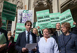 © Licensed to London News Pictures. 14/05/2018. London, UK. Rebecca Steinfeld (centre-right) and Charles Keidan (centre-left) arrive at the Supreme Court where they seek a change in the law that will allow heterosexual couples to enter into civil partnerships. Steinfeld and Keidan, who have 'deep-rooted' ideological objections to the institution of marriage, have previously lost their case at the High Court and the Court of Appeal. Photo credit: Rob Pinney/LNP