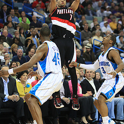 02 February 2009:  Portland Trailblazers guard Brandon Roy (7) shoots over New Orleans Hornets guard Rasual Butler (45) during a 97-89 loss by the New Orleans Hornets to the Portland Trail Blazers at the New Orleans Arena in New Orleans, LA.