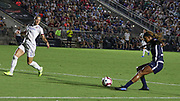 North Carolina Courage forward Crystal Dunn (19) looks to pass the ball in the final game against Olympique Lyonnais during an International Champions Cup women's soccer game, Sunday, Aug. 18, 2019, in Cary, Olympique Lyonnais bested the North Carolina Courage 1-0 in the finals.  (Brian Villanueva/Image of Sport)