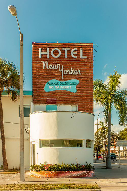 The Miami Modern (MiMo) style Hotel Nw Yorker on Miami's Biscayne Boulevard was designed by Norman Giller in 1953.