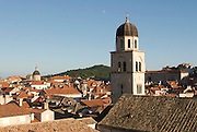 View over city of Dubrovnik with church tower. Croatia. Eastern Europe.