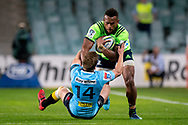 SYDNEY, NSW - MAY 19: Highlanders player Tevita Nabura runs over Waratahs player Cameron Clark at week 14 of the Super Rugby between The Waratahs and Highlanders at Allianz Stadium in Sydney on May 19, 2018. (Photo by Speed Media/Icon Sportswire)