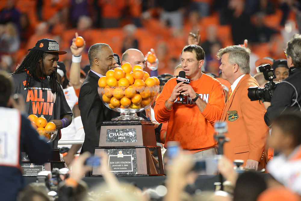 January 3, 2014: Head coach Dabo Swinney of Clemson celebrates after the NCAA football game between the Clemson Tigers and the Ohio State Buckeyes at the 2014 Orange Bowl in Miami Gardens, Florida. The Tigers defeated the Buckeyes 40-35.