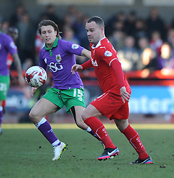 Bristol City's Luke Freeman closes down Crawley's Lee Fowler - Photo mandatory by-line: Dougie Allward/JMP - Mobile: 07966 386802 - 07/03/2015 - SPORT - Football - Crawley - Broadfield Stadium - Crawley Town v Bristol City - Sky Bet League One