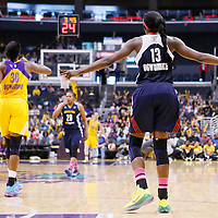 03 August 2014: Los Angeles Sparks forward Nneka Ogwumike (30) and Connecticut Sun forward Chiney Ogwumike (13) are seen during the Los Angeles Sparks 70-69 victory over the Connecticut Sun, at the Staples Center, Los Angeles, California, USA.