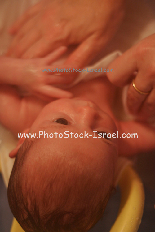 Bathing a one month old baby